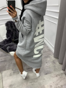 bluza miss city long light grey - gruby materiał