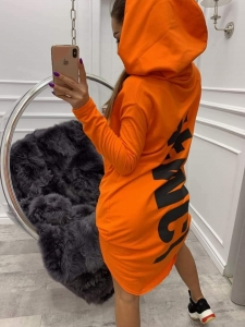 bluza miss city long orange - gruby materiał