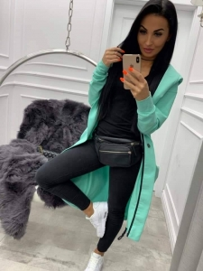 bluza long rozpinana z kapturem miss city mint