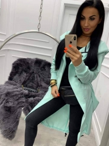 bluza long rozpinana z kapturem miss city light mint