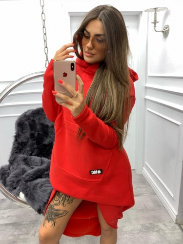 bluza miss city long red - cienki materiał